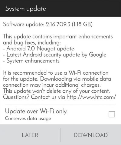 Download stock Nougat 2 16 709 3 update for HTC One A9 | DroidVendor