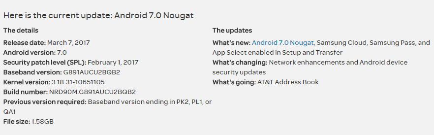 Install stock Nougat G891AUCU2BQB2 update on AT&T S7 Active