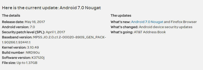 Stock Nougat K37120j update for AT&T LG Phoenix 2 is