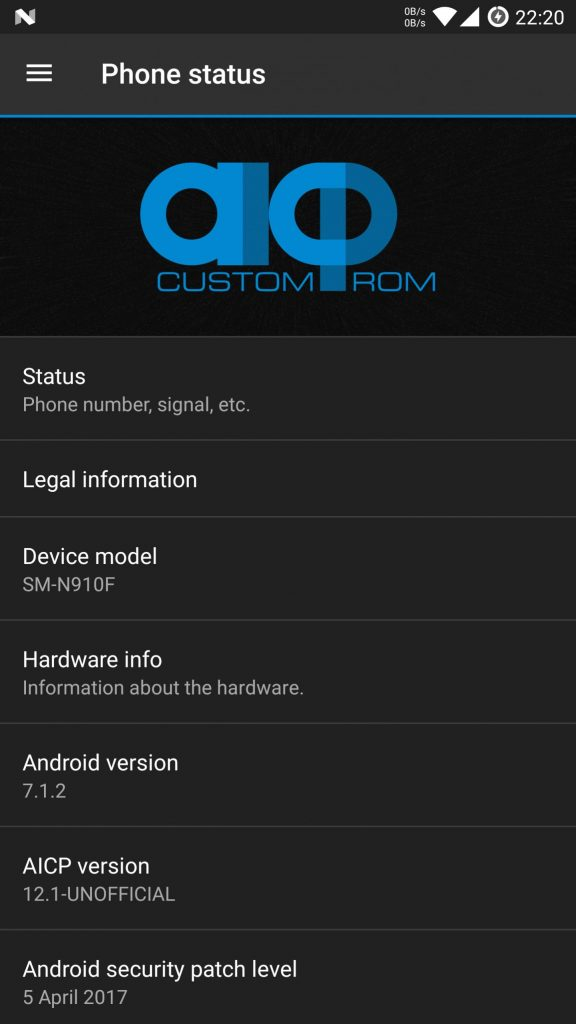 Install UNOFFICIAL AICP 12 1 on Galaxy Note 4 SM-N910F