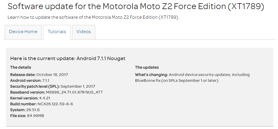 AT&T Moto Z2 Force gets Blueborne security patch [NPN26 118