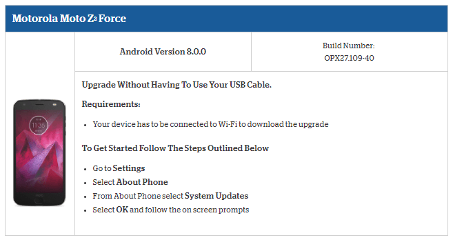 Stock Oreo OPX27 109-40 update for Moto Z2 Force (Rogers