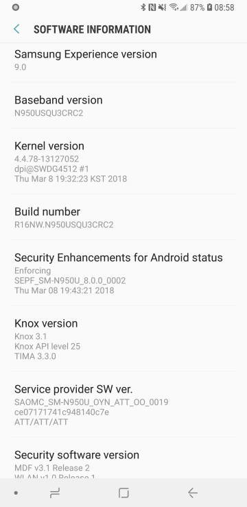 Download Stock Oreo N950USQU3CRC2 for Galaxy Note 8 [AT&T, Sprint