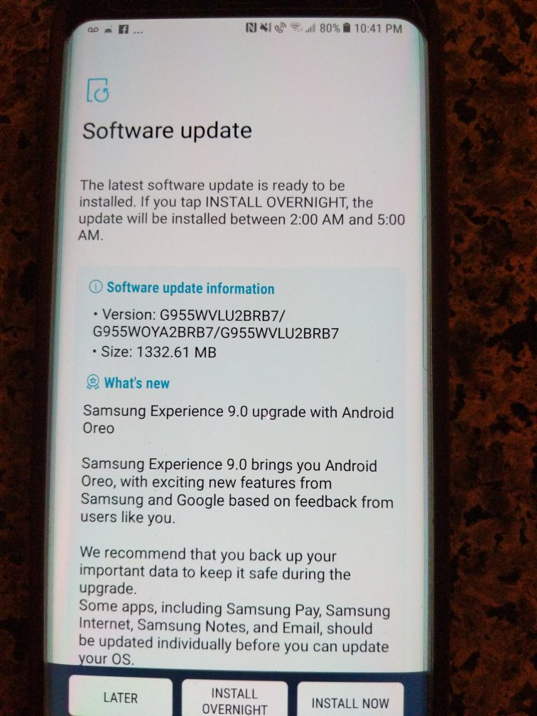 Download G950WVLU2BRB7 and G955WVLU2BRB7 Oreo OTA for Galaxy