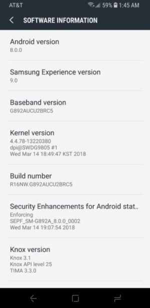 Download] AT&T Galaxy S8 Active stock Oreo G892AUCU2BRC5 firmware